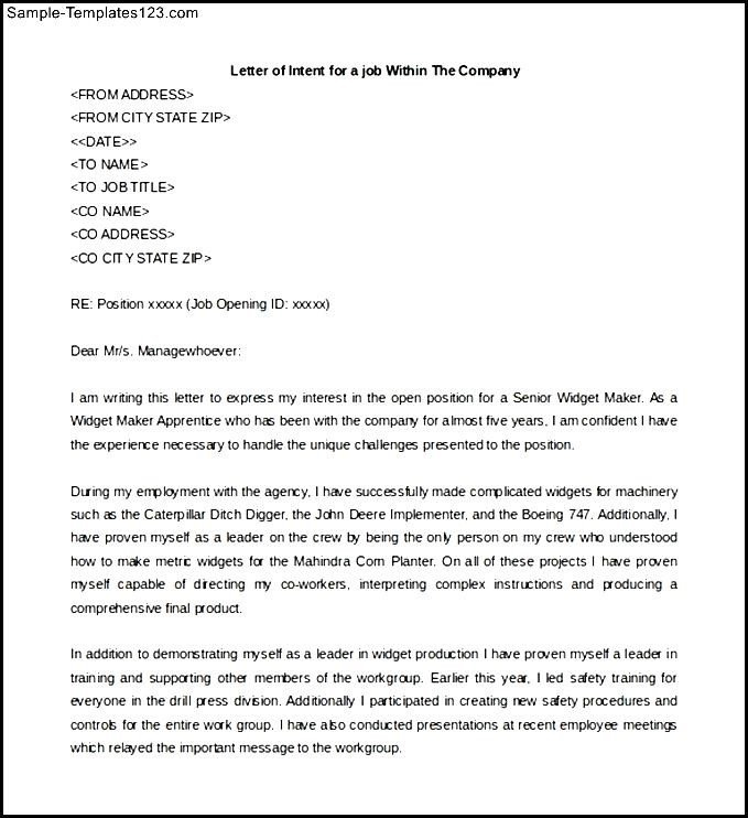 Employee Letter Of Intent from experteditors.net
